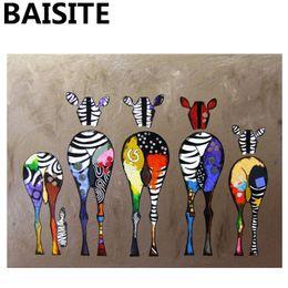 livros de pinturas a óleo Desconto BAISITE Imagem Emoldurada Pintura A Óleo DIY Por Números PinturaCaligrafia De Animais Encantadores Imagem Moderna Home Decor E862 40x50 cm