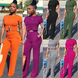 Kurze beine hose online-Frauen Sommer Zweiteiler Oansatz Kurzarm T Top Breites Bein Lange Hosenanzug Trainingsanzug Mode Outfits 6 Farben