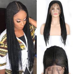 2019 peruca de prata leve Cabelo Carisma 13x6 trançada peruca de alta temperatura sintético peruca dianteira do laço Caixa Tranças Synthtic Perucas da Mulher Negra
