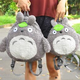 Bolso de escuela totoro online-Mujeres Hombres Mochila Totoro Hoja Verde Mochilas Estudiantes Escolares Cremallera Felpa Bolsa de Viaje de Dibujos Animados Cómico Nueva Llegada Lindo 33mzB1