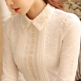 Blusa blanca de encaje de cuello online-Blusas de talla grande Camisa de blusa de encaje blanca Blusas y blusas de moda para mujer Camisas de manga larga para mujer Blusa elegante 812b 50