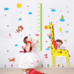 sticker mural pour enfants Promotion Cartoon Giraffe Hauteur Ruler Wall Sticker Chambres Enfants Décoration Stickers muraux Kids Art Toise Nursery autocollant Fond d'écran