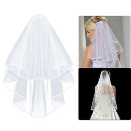 Canada Simple voile de mariage en tulle deux couches avec peigne blanc voile de mariée en ivoire pour mariée pour mariage accessoires de mariage cheap veils Offre