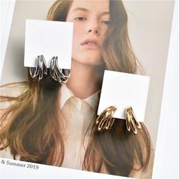 2019 pendientes de aro de cobre de la vendimia Pendientes del aro en forma de C de la vendimia Varias capas de joyería pendientes de cobre populares para las mujeres pendientes de aro de cobre de la vendimia baratos