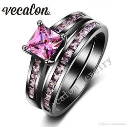 Черное кольцо розовые бриллианты онлайн-Vecalon женщины обручальное кольцо Установить розовый сапфир имитации алмаза Cz 10KT Черное золото Заполненные обручальное кольцо партии аксессуары