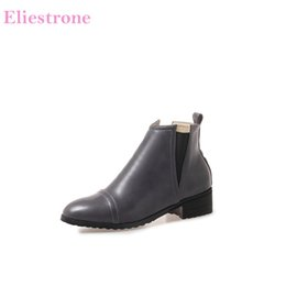 botas grises sexy Rebajas 2018 Brand New Hot Autumn Sexy Yellow Grey Botines de mujer Lady Motorcycle Shoes Chunky Heels AB819 Plus Big Size 10 32 43