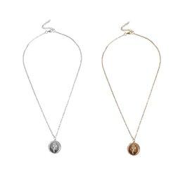 67ec20ca383e Collar Colgante redondo para Las Mujeres Simple Aleación de Oro Femenina  Collar de Moneda de Cadena Larga Flor de Rosa Collier 2019 Dropshipping