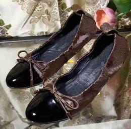 резиновая балерина Скидка 5A 3060180 кокетливые балерина плоские туфли, Момограмма холст телячья кожа, резиновая подошва, размер 35-40 С коробкой DHL Бесплатная доставка