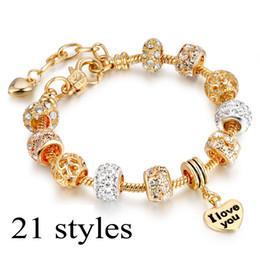 bola de cristal european bangle Desconto 21 estilos antigo 18 k charme pulseira de ouro europeu moda amor e flor bola de cristal para mulheres casamento 19 cm + 3 cm cadeia de extensão
