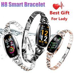 2019 chamadas de resposta de pulseira H8 smart watch senhora pulseira pulseira bluetooth rastreador de esportes de fitness freqüência cardíaca pressão arterial kalasias monitor de mulheres estilo pulseira links