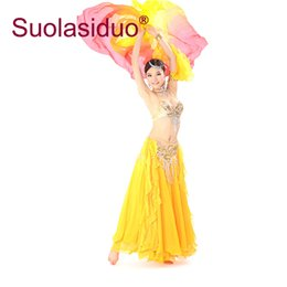 belly dance skirt belt Promo Codes - Yellow Belly Dance Costume Belly Beading Cloth Women Yellow Dance Costumes Stage Performance Bra Belt Skirt Clothing Sets