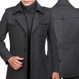 2019 Spring New Trench Coat para hombre Moda Chaquetas para hombre Versión de lana Chaqueta de los hombres Doble cuello cálido abrigo de lana 3 colores desde fabricantes
