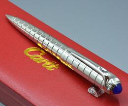 Price writing pens online-Precio de la promoción de lujo lleno de metal de plata rejilla bolígrafos mejor calidad Carties escribir marca bolígrafo con opción de caja de regalo