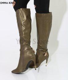 2019 Nouveau Bottes Élégantes Femmes Automne / Hiver Bottes Pointues Talons Aiguilles Zip Talons Moto Botas Mujer Chaussures De Mode Femme ? partir de fabricateur