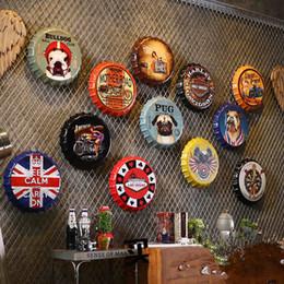 Stickers muraux café en Ligne-Bouteille de bière en métal créatif Artcrafts rétro autocollants décoration murale Vintage Bar Coffee Shop Décoration de la maison Accessoires 35 cm