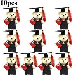2019 brinquedo graduação urso 10pcs bonito Mini Plush Lovely Bear Stuffed Toy Bear Doll para a decoração do partido de graduação da flor Bouquet 2019 graduação SH190925 brinquedo graduação urso barato