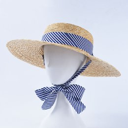 f4ffcdbe6c349 Flat Straw Hat French Top Striped Straps Wide Brim Hats Ladies Summer  Travel Outdoor Sun Hat
