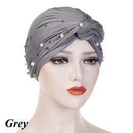 fascia di turbante hijab Sconti Accessori per capelli avvolgere la testa del nodo del turbante elastico pieghettato cappello musulmano hijab islamico fascia perline