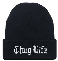 mens hat designers Coupons - Thug Life Embroidered Mens Womens Designer Skullcaps High Street Hats Male Female Beanie Autumn Winter Hat