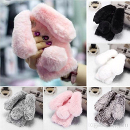 2020 casi coniglietto iphone 5s E65 Rabbit Bunny Warm Furry Fur Custodia in TPU per IPhone 8 8plus X 5 5s SE, 6 6s, 6 6s Plus 7 7 Plus nuovo arrilva E65 casi coniglietto iphone 5s economici