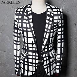 Chaqueta de cuadros a cuadros blancos negros, hombres 2019 marca Slim Fit un botón elegante fiesta de bodas trajes Blazer traje masculino Homme desde fabricantes