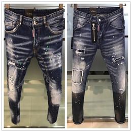 jeans vert foncé hommes Promotion Le luxe des hommes en détresse déchiré Jeans Skinny Créateur de Mode Hommes Jeans Slim Moto Moto Biker Causal Hommes Denim Pants Hip Hop Hommes Jeans