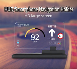 2019 encosto de cabeça ajustável tablet Suporte do suporte da navegação do carro HUD / Smartphone para a condução segura da placa de vidro do telemóvel HD