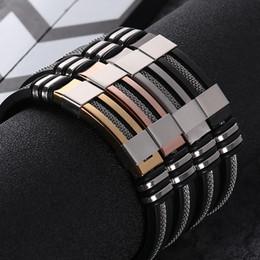 2020 novos projetos dos braceletes Pulseira de Silicone de Aço Inoxidável preto dos homens Simples Borracha Novo Design Do Punk charme Pulseira Pulseira Para Homens Moda Jóias Presente desconto novos projetos dos braceletes