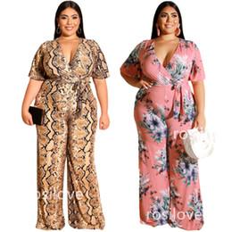 Giubbotti in chiffon online-2019 tute delle donne con scollo a V stampato tutina dritto NUOVI pantaloni casual elegante stile grandi iarde d'epoca di stampa tute elastico confortevole