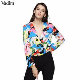 Vadim Women V Neck Floral Stampa colorata Tute Design incrociato Manica lunga Tute Donna Streetwear Top Blusas Kz1203 Q190507 da