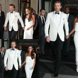 d2a4778e8729 giacche stile bianco Sconti beckham stile smoking bianchi uomini abiti da  sposa economici bello slim fit