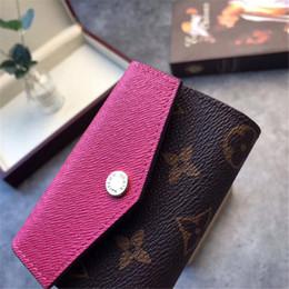 Маленькие кожаные цветочные кошельки онлайн-Мини-кошелек женская мода стиль кошелек известный женский бренд кошелек с покрытием из натуральной кожи маленькие кошельки с письмом старый цветок новое прибытие Hot 10