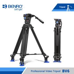 2019 bolsas de trípode de cámara Benro BV6 trípode video profesional Auminium cámara Trípodes BV6 de cabezales de vídeo QR13 placa que lleva el bolso El envío libre de DHL bolsas de trípode de cámara baratos