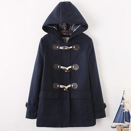 botones de estilo japonés Rebajas Abrigo de lana japonés con botones de cuerno de estilo universitario de otoño japonés Abrigo de mezcla cálido con capucha de lana larga y delgada