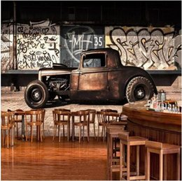 carros parede papel de parede Desconto Custom Background Wallpaper Photo Retro 3D Graffiti Nostalgia Car Mural Restaurante Café Sala Wall Decor Wall Paper 3D