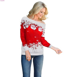 Hässliche drucke online-Frauen-beiläufiges hässliches Strickjacke Weihnachten Sweater Weihnachtsmann druckt lose Sexy Snowflake Pullover Herbst Winter Weihnachten Clo