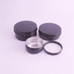 Latas de té vacías online-150 unids Negro 50g 60g Aluminio Tarro Crema Hoja de té Nail Art Maquillaje Lipgloss Cuidado de la piel Loción Vacía Cosmética Metal Latas Contenedor