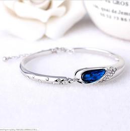 Canada 2018 nouvelle De Luxe Saphir Bracelets Bijoux Nouveau Style Charmes Bleu Autriche Diamant Bracelet Bracelet 925 En Argent Sterling Verre Chaussures Main Jewe Offre