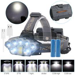 Projecteurs usb rechargeables en Ligne-Phare rechargeable par USB 80000lm Phare 2 * T6 + 5 * Q5 + 1 * COB LED Lampe frontale Lampe de poche Torche Tête Lanterne 18650 Batterie