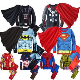 2019 casaco de lã e lã Conjunto de Roupas de bebê para meninos Hulk super-herói Batman Homem De Ferro traje Spiderman crianças pijama roupas crianças conjuntos de roupas para dormir SH190912