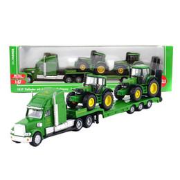 Nuovi camion di giocattoli online-SIKU scala 1:87 camion giocattolo trattori modello piattaforma camion con New Holland trattori rimorchio in lega giocattoli per bambini