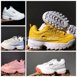 Argentina 2019 Nuevos Disruptores 2.0 3.0 Fila Hombres Mujeres blanco rosado Zapatillas de diseñador Zapatillas de deporte Zapatos Big Sawtooth Ladies Casual Diseñador zapatillas de correr supplier ladies pink running shoes Suministro