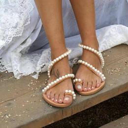 SHUJIN Kadın Sandalet Yaz Ayakkabı Düz Inci Sandalet Rahat Dize Boncuk Terlik Kadın Rahat Düz Flip Flop 34-43 supplier sandals flat bead nereden sandalet düz boncuk tedarikçiler