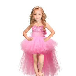 ribbons bows for skirts Promo Codes - Tutu Pink Tulle Girl Dress Skirts Kids Princess Handmade Mesh TUTU Dresses With Ribbons Bow For Birthday Wedding Party BY1099