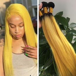 Ombre Sarı Düz Saç Cosplay İnsan Saç Dokuma Brezilyalı Virgin İnsan Saç Demetleri Sarı Ombre Renk nereden