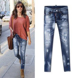 Pantalones vaqueros de las mujeres de lujo de pintura popular salpicado Jeans dañados con detalle Patchwork Sexy Twist Fit desde fabricantes