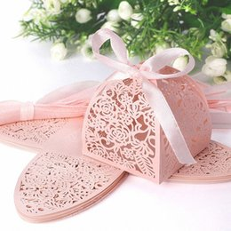 2019 scatola elegante del regalo del regalo 50pcs Valentine Romantic Wedding Pink Girl Gifts Borse Nastro Bow Carta di carta Candy Box Elegante bomboniere fatto a mano Matrimonio Kit T190709