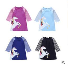 2019 winter mode baby kleider Kinder Kleidung Mädchen Kleid Einhorn Baumwolle Kinder Baby Gestreiftes Kleid Party Kleider Kleidung Mode Lässig Langarm Kleider Beste Geschenke günstig winter mode baby kleider
