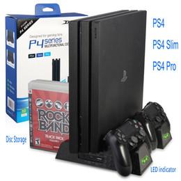 controlador de ventilador de enfriamiento Rebajas Soporte vertical para PS4 / PS4 Slim / PS4 PRO con enfriador de enfriamiento Estación de carga con cargador de doble controlador para SONY Playstation 4