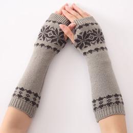 Mädchen Arm Winter Handschuhe Lange Geschenk Warme Fingerless Für Frauen Schnee Muster Stricken Bekleidung Zubehör